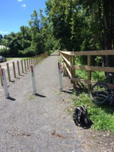 Camden Street Trailhead, freshly finished surfacing and fencing. Aug 2016. Photo credit: Diana Druga.